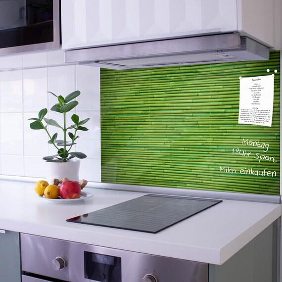 Glas Küchenrückwand selbstklebend Spritzschutz mit Motiv BAMBUS GRÜN