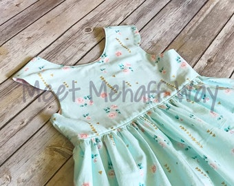 READY-TO-SHIP -- Mint Floral and Gold Dress -- Size 8 -- Girls Scoop Back Dress
