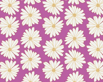 Fabric Anna Elise, Daisies Lilac Scent, Moonflower Lady palette by Bari J. for Art Gallery Fabrics Daisy Lilac Purple White