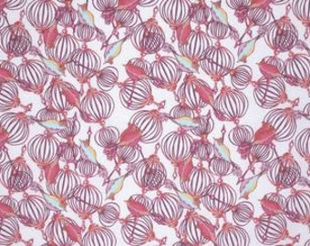 Tina Givens Feather Flock 'Birdcage' in Lilac Cotton Fabric