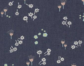 Denim Fabric 'Ditsy Abrasion' Floral Printed Denim Art Gallery Floral Mint Pink Coral Blue
