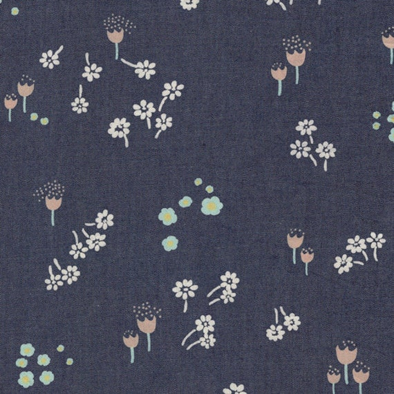 Denim Fabric 'Ditsy Abrasion' Floral Printed Denim Art Gallery Floral Mint  Pink Coral Blue