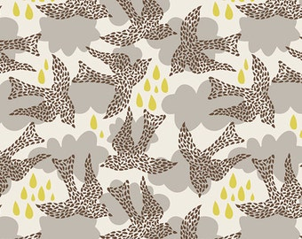 Fabric Sweet as Honey 'Fly by Night' by Bonnie Christine Art Gallery Birds Brown Yellow