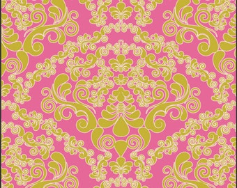 Fabric Mademoiselle Green 'Dreaming in French' Pat Bravo Art Gallery Fabrics Damask Pink Yellow Green