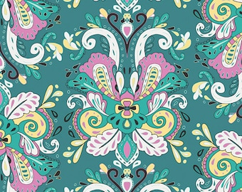 Fabric Anna Elise, Poetic Saddle Iris, Moonflower Lady palette Bari J. for Art Gallery Fabrics Damask Pink Teal Green Lilac Purple