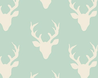 Hello, Bear, Buck Forest, in Mint, by Bonnie Christine for Art Gallery Fabrics