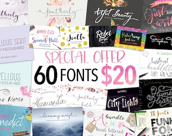 Font bundle - 60 Script fonts including hand lettered fonts and calligraphy fonts. Fonts which can be used for photography logo designs