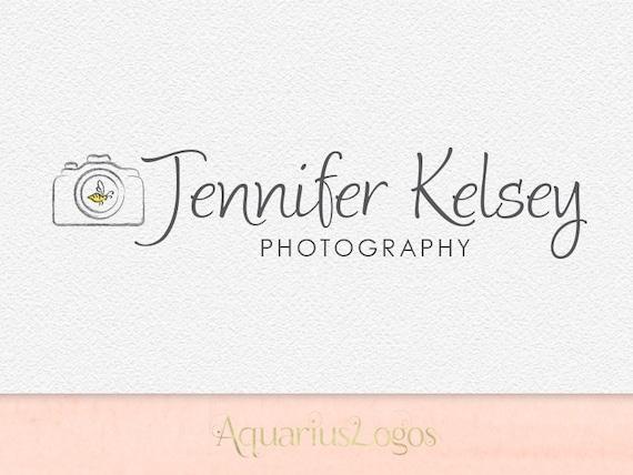 Premade Photography Logo Camera Swirls Bee Logo Watermark Design Name Text Logo