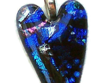 Dichroic Fused Glass Heart Pendant, Blue,Turquoise,Multi, 2 inch,Silver