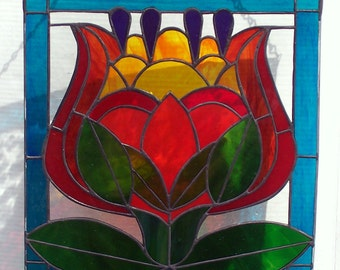 Stained Glass Hanging Window Panel, Colorful Leaded Glass Flower, Floral Home Decor, 14 X 14 Bright Suncatcher