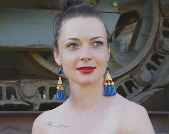 triangle STATEMENT earrings - gold GEOMETIC earrings - TASSEL dangle earrings, bohemian earrings, chandelier earrings - gold & blue earrings