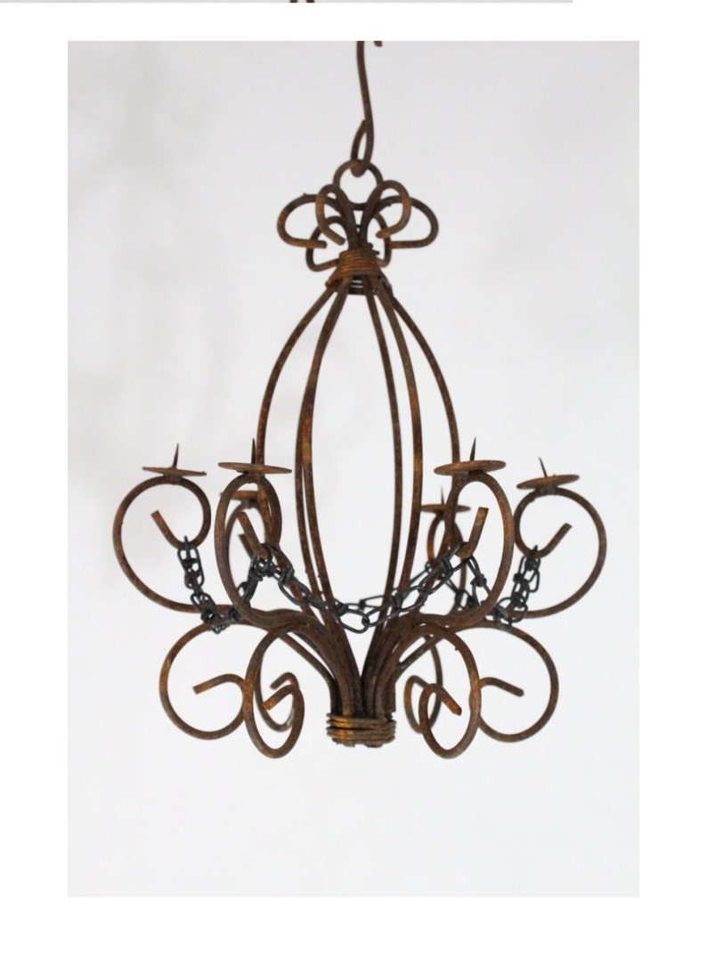Wrought iron candle chandelier lighting master country use indoor or outdoor