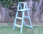 Antique Wood Turquoise Ladder Display - Rustic 4 Steps 47 quot tall - Primitive Stand - Vintage Storage - Farmhouse Plant Holder - DIY Rack