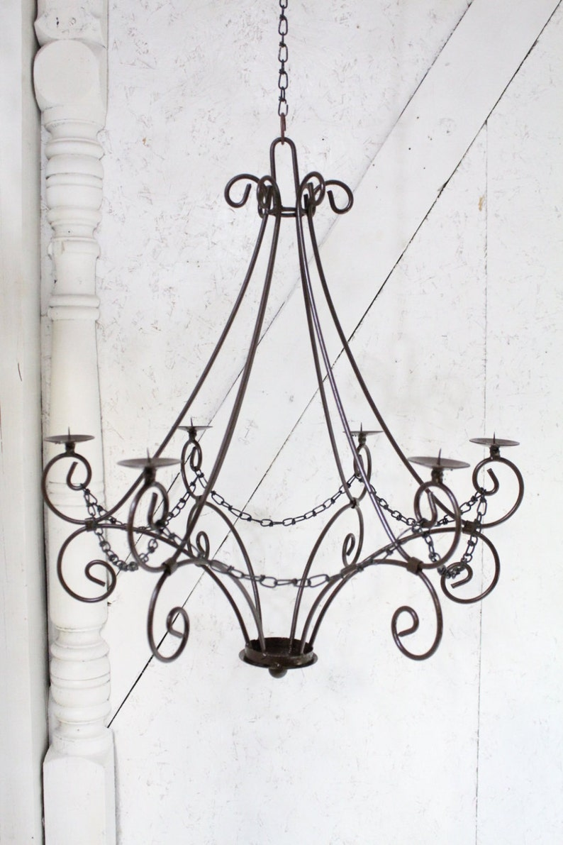Wrought iron candle chandelier lighting master teardrop use indoor or outdoor