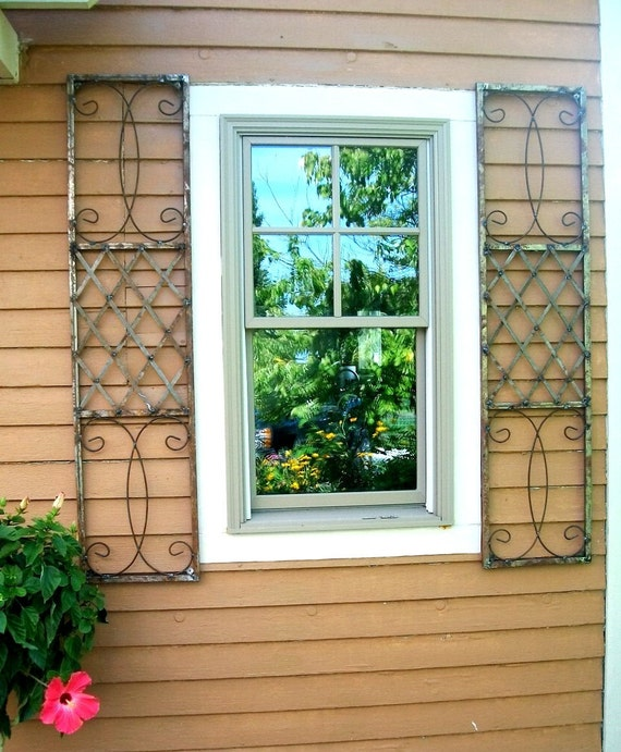 Exterior Wrought Iron Window Skiview Shutters Metal Wall