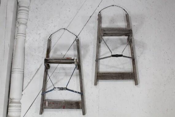 28 antique wood ladder wall shelf rustic display great etsy. Black Bedroom Furniture Sets. Home Design Ideas