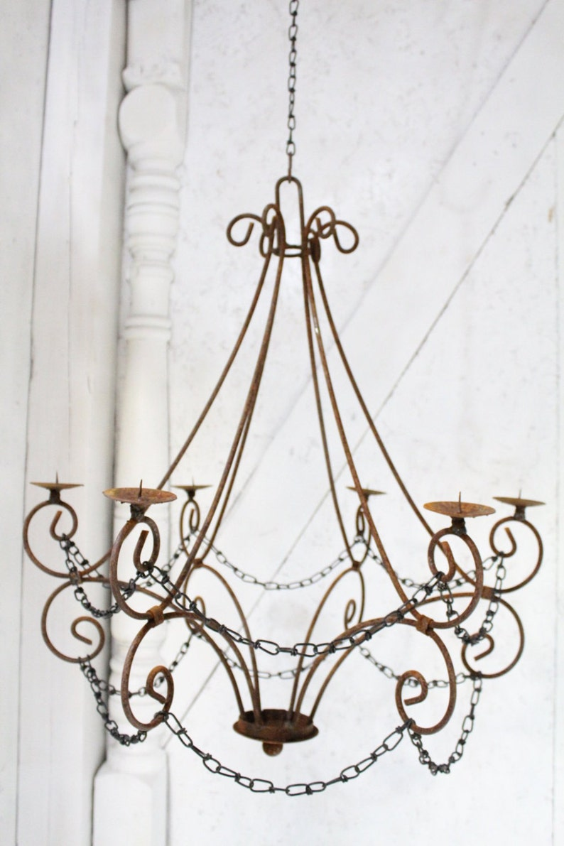 Wrought iron candle chandelier lighting master double teardrop use indoor or outdoor