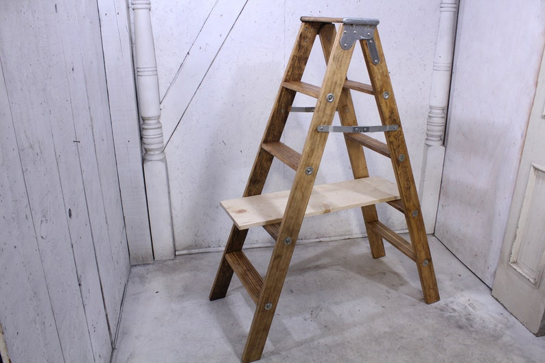 watch 12314 764ff Double 5 Step Ladder Shelf Frame - Choice Of 2 Stains Or Leave It Natural