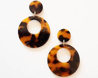 Mary Large Hoops   Tortoise Shell Earrings   Desperate Beatnik   Retro Hoops   French Fashion   Studs only