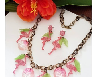 Pink flamingo parure (necklace and earrings )
