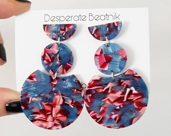 Luxurious Long Summer Hoops | High Quality Blue & Pink Tortoise Shell Earrings | Desperate Beatnik | Abstract Minimalist | Studs only