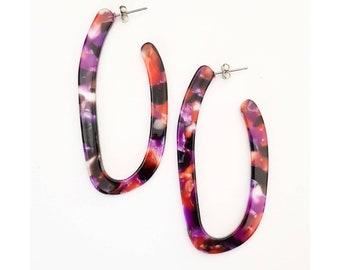 Medium Galaxy Exploison Tortoise Shell Hoops Earrings   Minimalist   Tortoiseshell Earrings   Desperate Beatnik   French Fashion