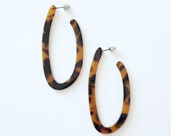 Long Tortoise Shell Hoops Earrings