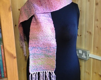 Hand Woven Pink and Green Scarf