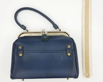 Navy Blue Vegan Leather Top Handle Purse Vintage Pocketbook Mid Century  1960s FREE SHIPPING a423fab8ade3e