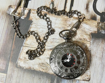Steampunk Pocket Watch with Fob - Working watch with Quartz movement