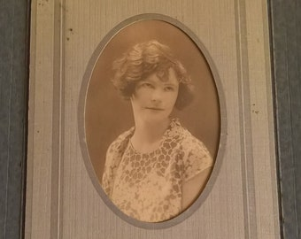 Flapper Portrait Antique Sepia Photograph -- Vintage Beautiful Girl Photo Home Gallery -- Old Speakeasy Babe Collectible Ghost Mansion Decor