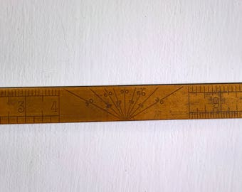 Vintage The Eyesaver Ruler --- Retro Rustic Workshop Carpenter Curio Home Decor Industrial Shop --- S.F.R. & B. Co. Drafting Table Tool