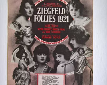 Ziegfeld Follies 1921 Vintage Sheet Music -- Bring Back My Blushing Rose --- 1920's Flirty Flapper Roaring Twenties Home Decor Picture Print