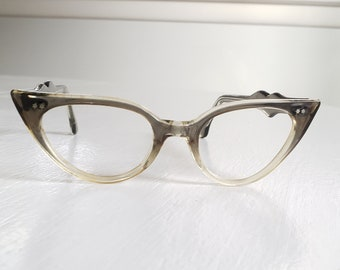 336f1f2361f Vintage Qualite French Eyewear Gray Ombre Cat Eye Glasses --- Retro 1950 s  1960 s Women s Accessory Frames --- Mid-Century Babe Style