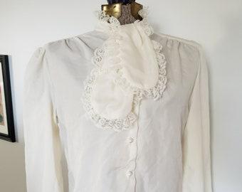 08490dd63f33a7 Vintage Rhapsody Lace Frill Ascot Pussy Bow Blouse --- Retro Puffy Pirate  Shirt 1980's Costume --- Modern Dandy Aristocrat Elegant Top