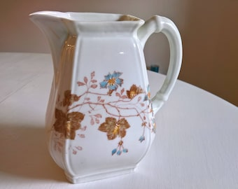 Antique Country Manor Floral Lazarus Straus & Sons Pitcher --- Vintage Porcelain Ceramic Water Jug --- English Garden Greenhouse Home Decor