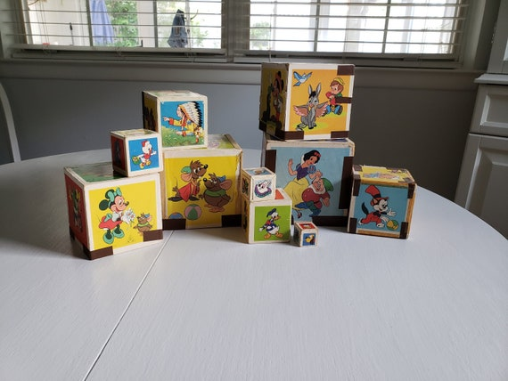 b46e280939766 Vintage Walt Disney Characters Stacking Nesting Blocks --- Retro Eichhorn  Toy Company Western Germany Collectibles --- Baby Nursery Decor
