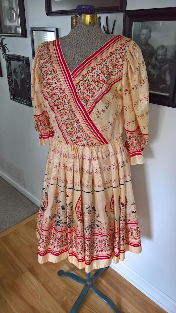 Vintage 1980's Flirty Bohemian Style Dress --- Ret