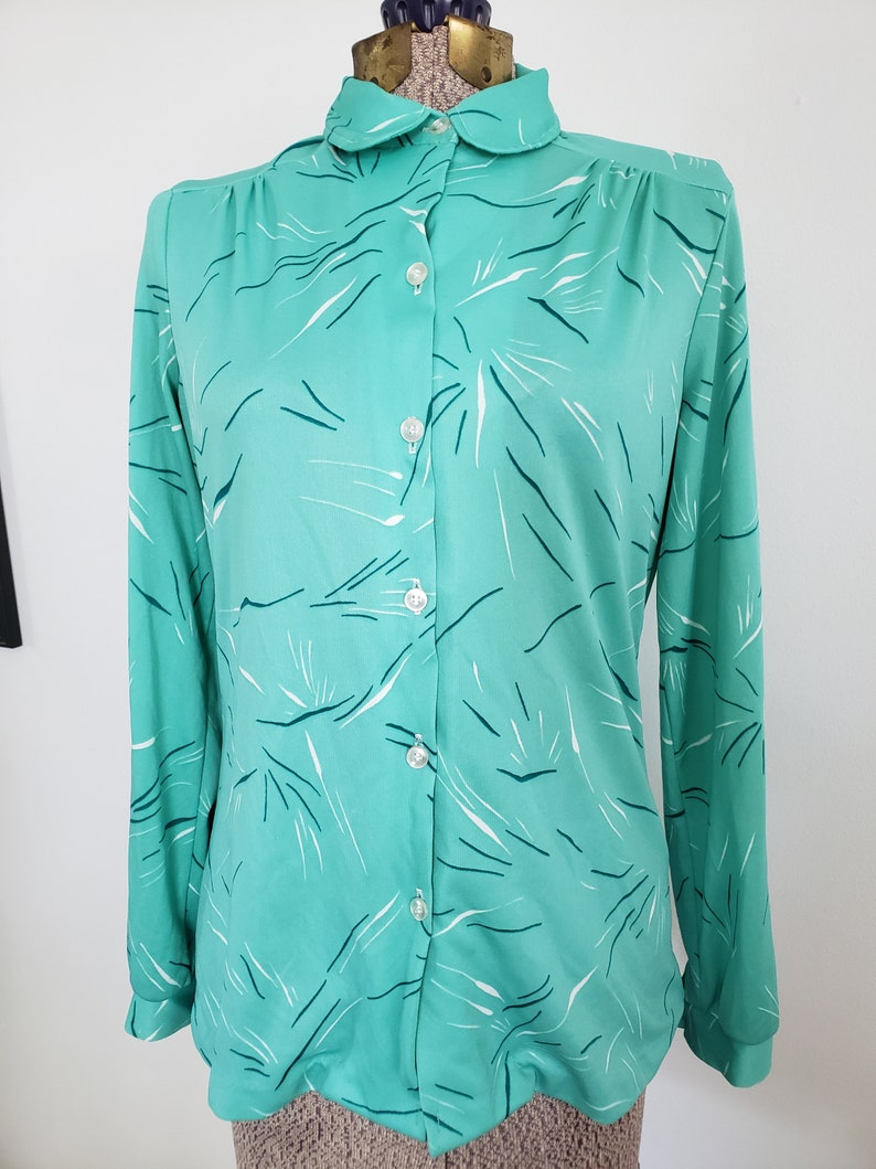 Retro 1980/'s Cute Novelty Print Button Down Blouse Funky Clothing Vintage Alfred Dunner Minty Green Party Confetti Peter Pan Collar Shirt