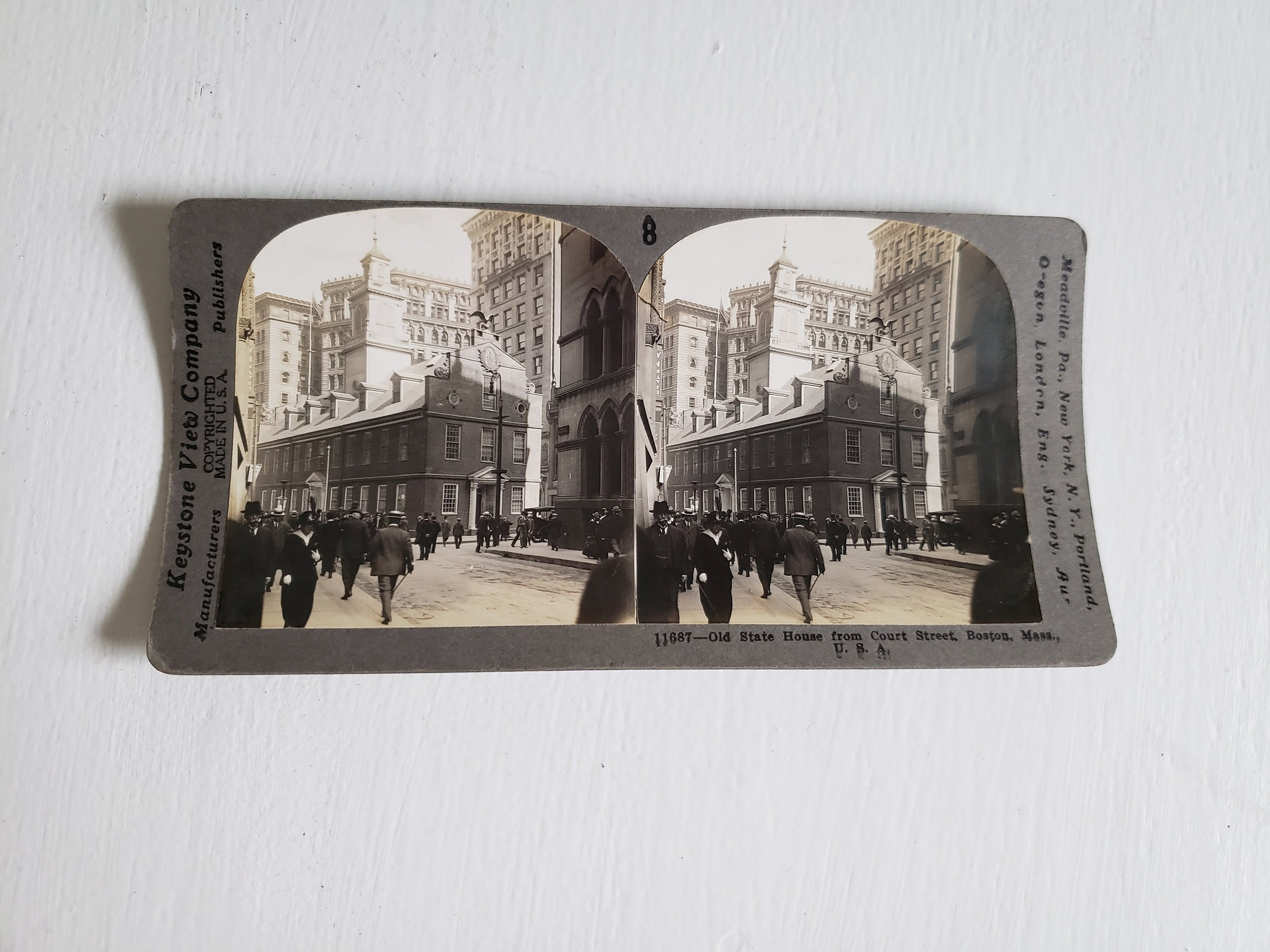 Antique Old State House Keystone View Company Stereoscope Stereopticon  Viewer Card --- Vintage Boston History Collectible Photography