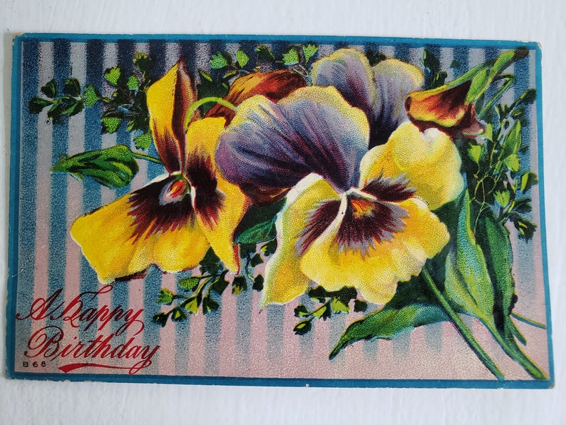 Vintage Victorian Era Garden Flowers Happpy Wishes - - Antique Birthday Pansy Lithograph Postcard Lovely Romantic Gardener Home Decor