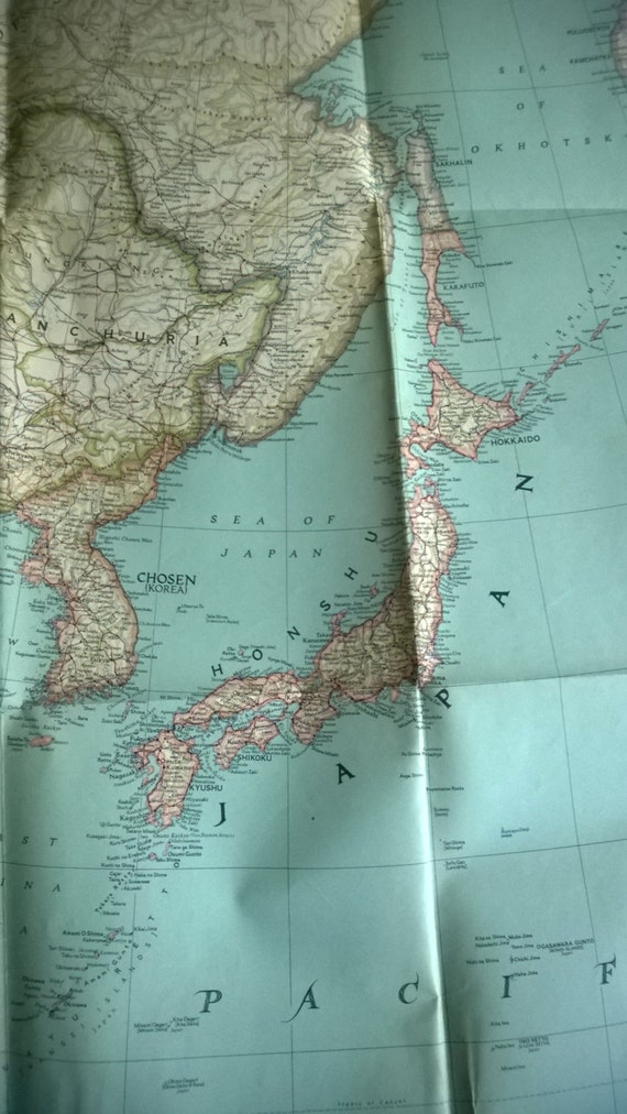 Clearance Vintage Japan Surrounding Countries 1944 Map Etsy
