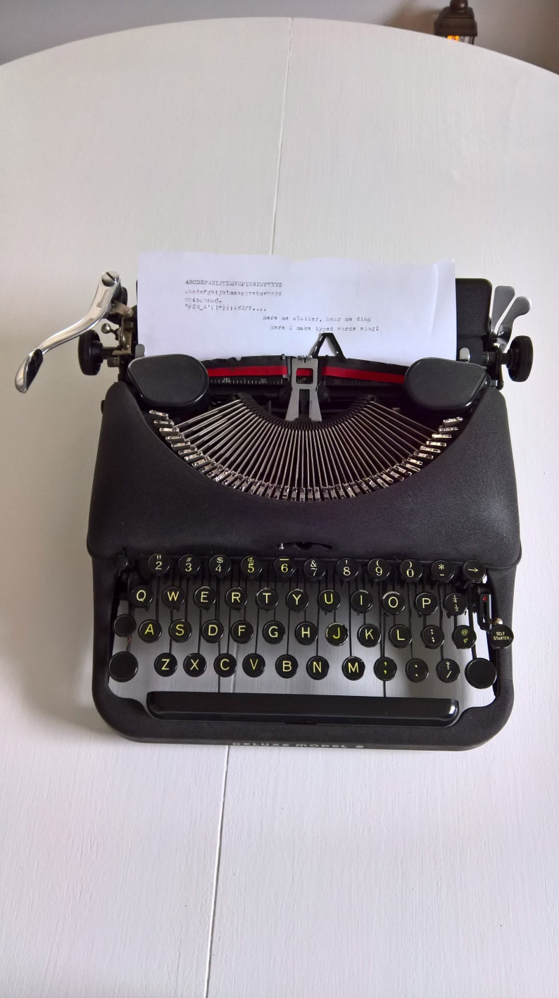 - Vintage Remington Rand Deluxe Model 5 Typewriter Typist Machine Portable Manual Beautiful Industrial Journalist Office 1940/'s Home Decor