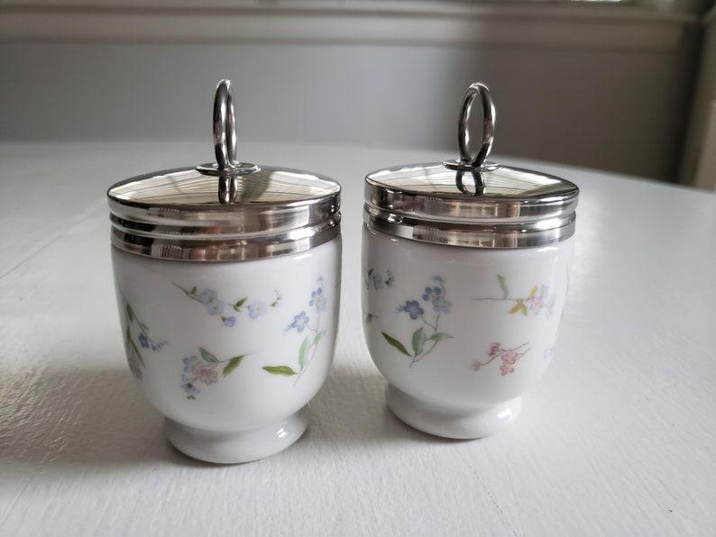 - - Retro English Breakfast China Vintage Royal Worcester Little Pastel Wildflowers Fine Porcelain Egg Coddlers Romantic Kitchen Decor