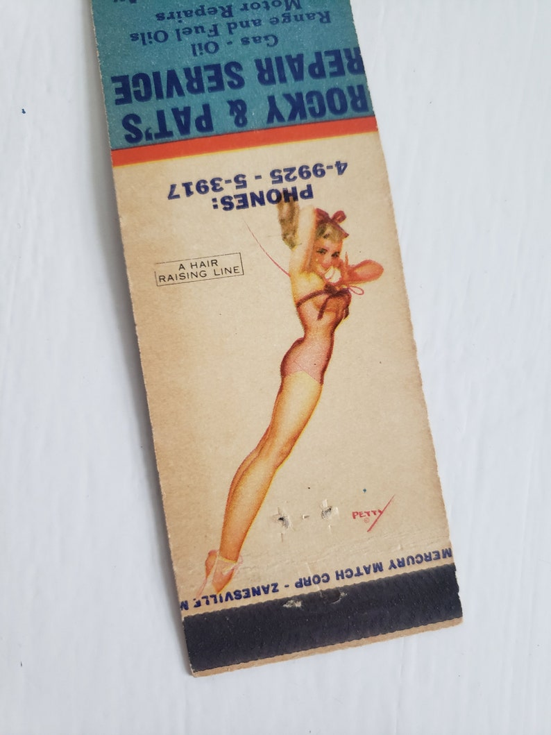 Hair Raising Retro 1940/'s 1950/'s Advertising Match Book Mid-Century Paper Ephemera Vintage Girlie George Petty Pin-Up Matchbook Cover