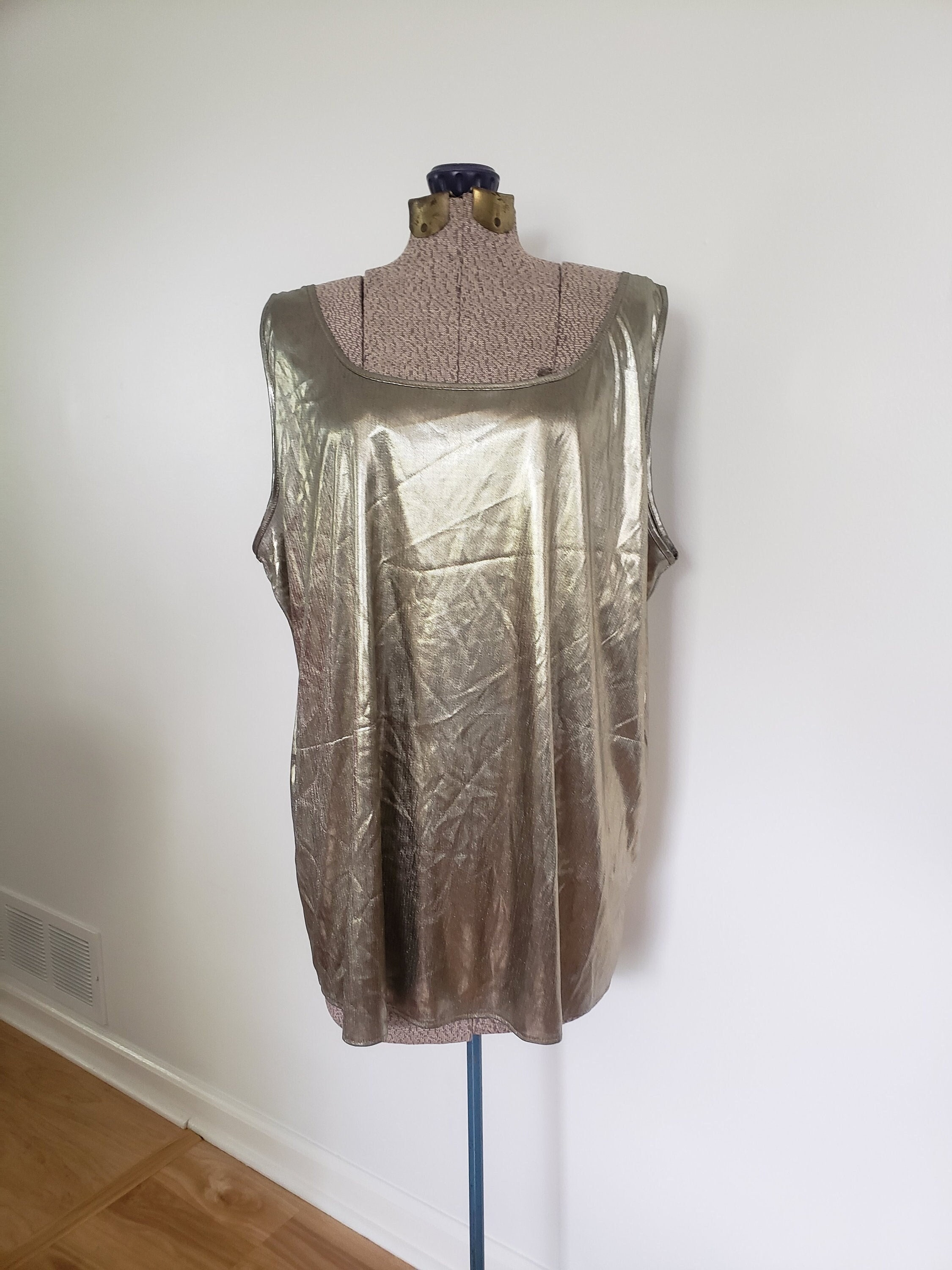 80s Dresses | Casual to Party Dresses Vintage Lucky Me Gold Metallic Tank Top - Retro 1970s 1980s Shiny Disco Clothing Fancy Bodybuilder Muscle Shirt Summer Party $14.00 AT vintagedancer.com