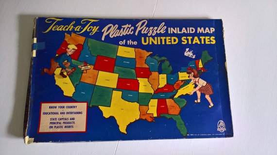 Puzzle Map Of The United States.Vintage Teach A Toy Puzzle Map Of The United States Retro Etsy