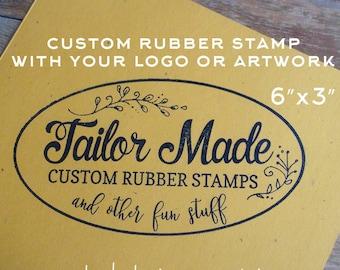 Custom Rubber Stamp, 6 x 3 Stamp, Logo Stamp, Shopping Bag Stamp, Extra Large Stamp, Wood Mounted