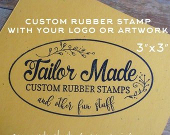 "Custom Rubber Stamp for Shopping or Bazaar Bags,  Logo Stamp for Business, 3"" x 3"" Wooden Handled"