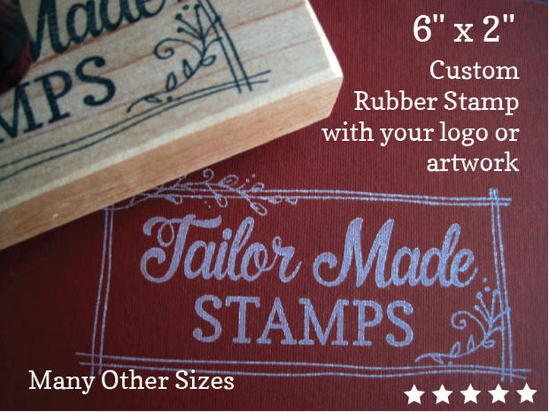 Custom Rubber Stamp 6 X 2 Stamp Logo Stamp Shopping Bag Stamp Extra Large Stamp Wood Mounted